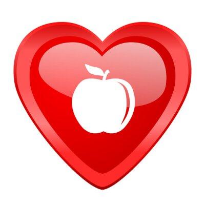 Adesivo mela cuore rosso Valentino lucido icona web