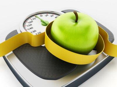 Adesivo Mela verde e misura di nastro sulla scala del peso