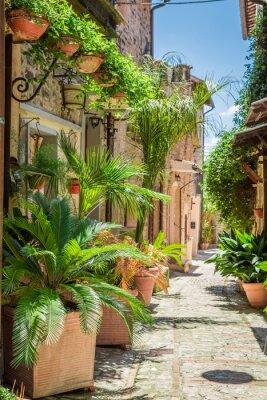 Adesivo Meraviglioso strada decorata in piccola città in Italia, Umbria