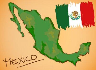 Adesivo Messico Mappa e nazionale bandiera Vector