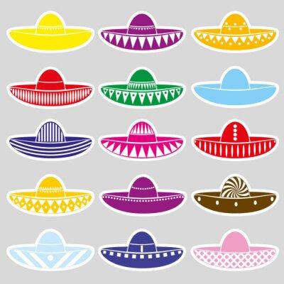 Adesivo Messico variazioni cappello sombrero set di adesivi eps10