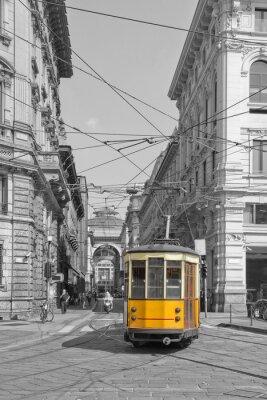 Adesivo Milano con il tram in piazza Cordusio e sfondo Galleria Vittorio Emanuele Lombardia Italia