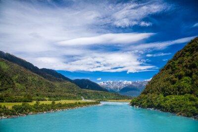Adesivo Milky acqua blu glaciale del Whataroa fiume in Nuova Zelanda