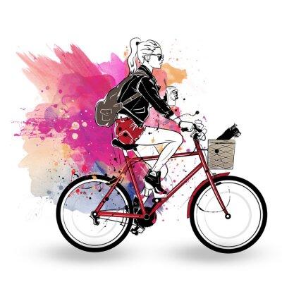 Adesivo Moda ragazza in stile schizzo su sfondo colorato.