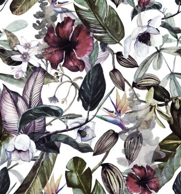Adesivo Modello acquerello senza soluzione di continuità con fiori tropicali, magnolia, fiori d'arancio, orchidea vaniglia, foglie tropicali, foglie di banana