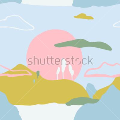 Adesivo Modello astratto con tramonto sulle montagne. Struttura senza alternativa di natura contemporanea artistica. Pronti idee di design per poster, biglietti di moda, invito, cartellone, brochure, flyer, p