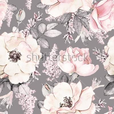 Adesivo Modello con cuciture rosa e foglie su sfondo grigio, acquerello motivo floreale, fiore rosa in colore pastello, piastrellabile per carta da parati, carta o tessuto
