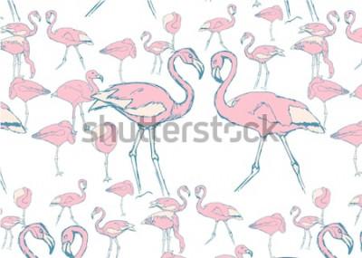 Adesivo modello con fenicotteri rosa in acqua in diverse pose e due fenicotteri con collo a forma di cuore