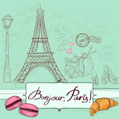 Adesivo Modello con i simboli di Parigi