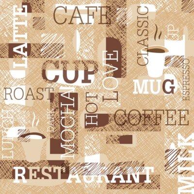 Adesivo modello del caffè a tema senza soluzione di continuità. Parole, tazze di caffè, e scarabocchi creativi. Beige e marrone gamut. Sfondo per il design bar o ristorante di marca.