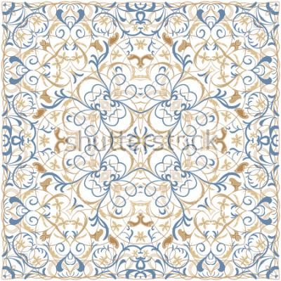 Adesivo Modello di colore brillante in stile orientale. Ornamento quadrato per scialli, sciarpe o cuscino. Può essere usato per la stampa su tessuto o carta. Illustrazione vettoriale