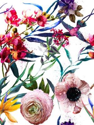 Adesivo modello di moda floreale esotica senza soluzione di continuità