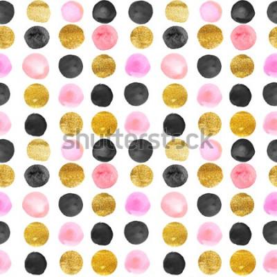 Adesivo modello di punti oro e rosa. disegnati a mano ad acquerello