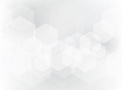 Adesivo Modello di sovrapposizione geometrica astratta esagono su sfondo bianco e grigio.