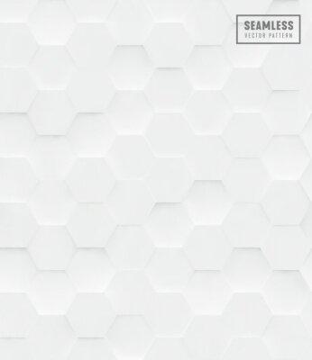 Adesivo Modello di vettore senza cuciture poligonale di esagono 3d, fondo geometrico bianco di affari