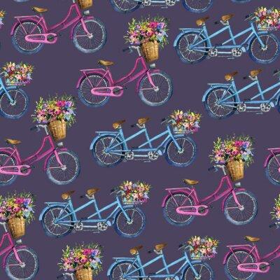 Adesivo modello eamless con biciclette e fiori