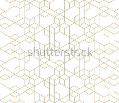 Adesivo Modello geometrico astratto con attraversamento sottili linee dorate su sfondo bianco. Rapporto lineare senza cuciture. Elegante trama frattale. Modello vettoriale per riempire lo sfondo, incisione la