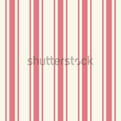 Adesivo Modello gessato piastrellabile tinta unita di colore rosa chiaro in stile artistico semplice classico stampa cremisi su fondo beige. Ripetizione di moderne strisce audaci eterogenee. Vista dettagliata