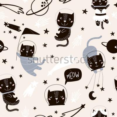 Adesivo Modello infantile senza soluzione di continuità con gli astronauti gatti carino. Sfondo vivaio creativo. Perfetto per i bambini design, tessuto, involucro, carta da parati, tessile, abbigliamento