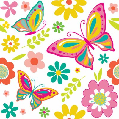 Adesivo modello molla con cute farfalle adatto per carta da regalo o di sfondo carta da parati. EPS 10 e HI-RES JPG Incluso