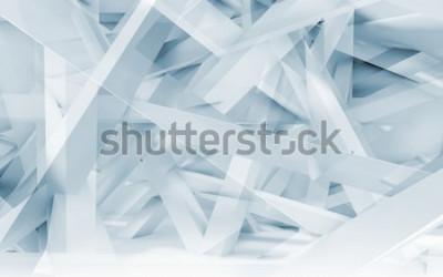 Adesivo Modello poligonale delle travi caotiche blu e bianche del fondo digitale astratto. 3d tonalità blu illustrazione, computer grafica