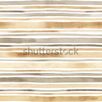 Adesivo Modello senza cuciture a strisce dell'acquerello Sfondo disegnato a mano con strisce ad acquerelli
