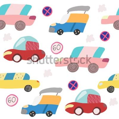 Adesivo Modello senza cuciture con auto disegnata a mano sulla strada. Stile scandinavo per bambini. Illustrazione di cartone animato