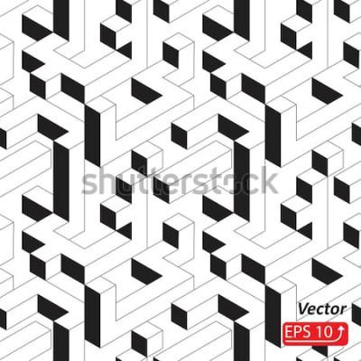 Adesivo Modello senza cuciture con case, edifici, città, città in stile isometrico. Illustrazione astratta in bianco e nero di vettore del fondo 3D