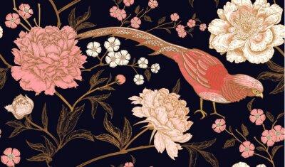 Adesivo Modello senza cuciture con fagiani di uccelli esotici e fiori di peonia.