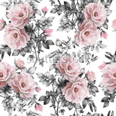 Adesivo Modello senza cuciture con fiori rosa e foglie su fondo bianco, modello floreale dell'acquerello, fiore rosa in colore pastello, modello di fiore senza cuciture per carta da parati, carta o tessut