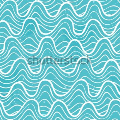 Adesivo Modello senza cuciture con le onde dell'oceano in uno stile decorativo. Illustrazione vettoriale