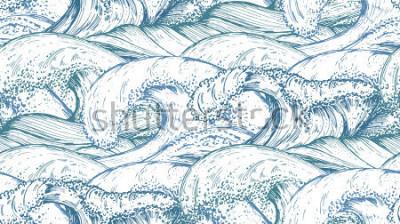 Adesivo Modello senza cuciture con mare disegnato a mano onde in stile schizzo. Vector sfondo infinito nei colori blu.