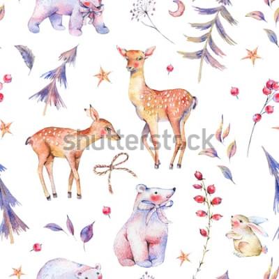 Adesivo Modello senza cuciture d'annata dell'acquerello di inverno con gli orsi polari, i cervi, il fawn, la lepre e la foresta magici svegli su fondo bianco, decorazione di Natale, illustrazione di f