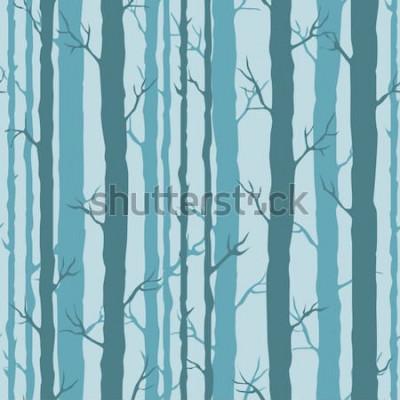 Adesivo Modello senza cuciture decorativo con tronchi di alberi. Ornamento senza fine con steli turchesi scuri di alberi su sfondo blu. Elegante sfondo albero per avvolgimento, carta da parati.