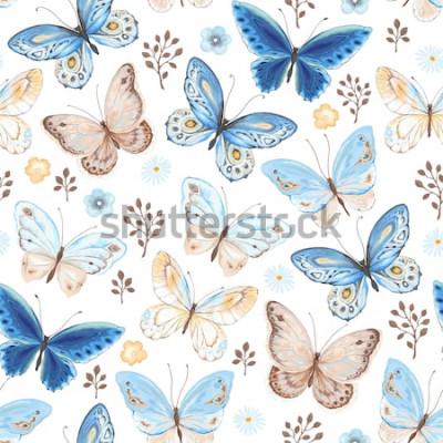 Adesivo Modello senza cuciture dei colori blu, gialli e marroni delle farfalle volanti. Illustrazione vettoriale in stile vintage su sfondo bianco.