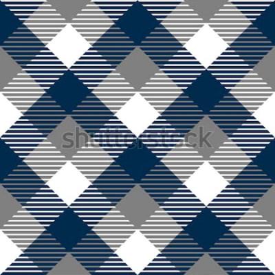 Adesivo Modello senza cuciture del tessuto a quadretti del percalle in grigio blu e bianco, vettore