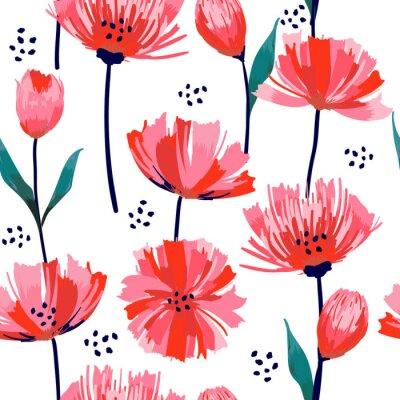 Adesivo Modello senza cuciture del tulipano rosa di fioritura del fiore selvaggio d'avanguardia selvaggio fresco di bella estate in uno stile del disegno della mano