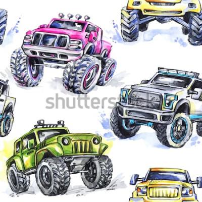 Adesivo Modello senza cuciture dell'acquerello Cartoon Monster Trucks. Sfondo colorato sport estremi. 4x4. Veicolo SUV fuoristrada. Stile di vita. Hobby dell'uomo.