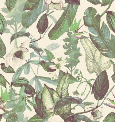 Adesivo Modello senza cuciture dell'acquerello con fiori tropicali, magnolia, fiori d'arancio, orchidea vaniglia, foglie tropicali, foglie di banana
