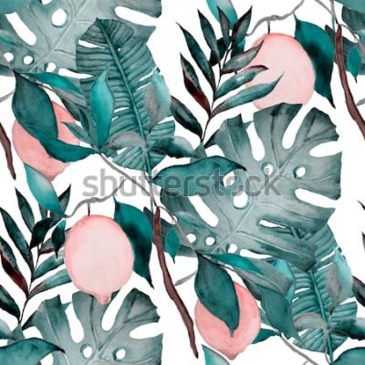 Adesivo Modello senza cuciture dell'acquerello con foglie tropicali e agrumi. Stampa botanica di moda.