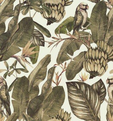 Adesivo Modello senza cuciture dell'acquerello con l'ibisco, foglie di palma, ramo di strelitzia, calathea Fondo d'annata tropicale