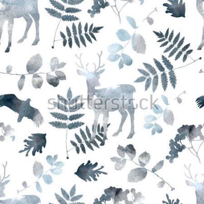 Adesivo Modello senza cuciture della foresta nordica con i cervi, gli uccelli, elementi della foglia. Acquerello disegnato a mano