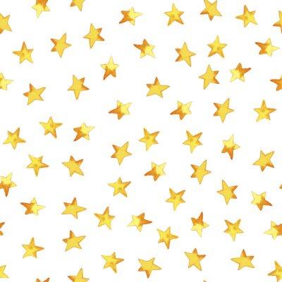 Adesivo Modello senza cuciture della mano che disegna le stelle semplici gialle nella scaletta puerile del fumetto su fondo bianco