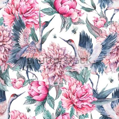 Adesivo Modello senza cuciture della natura dell'acquerello con la gru, peonie di fioritura dei fiori rosa ed ape su fondo bianco, decorazione di estate, illustrazione dipinta a mano