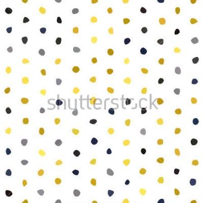 Adesivo Modello senza cuciture della polka del senape dei blu navy di gray giallo grigio su fondo bianco. Struttura rotonda di pietra poligono. Abstract vector for prints, textile, wrapping, fabric, package,