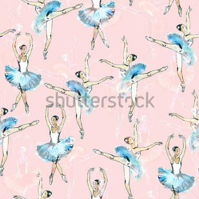 Adesivo Modello senza cuciture di ballerini di balletto, nero, bianco e argento disegno, pittura ad acquerello, isolato su sfondo rosa.