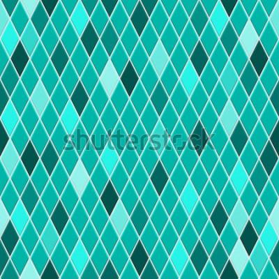 Adesivo Modello senza cuciture di piccoli rombi nei colori turchesi con alcuni rombi colorati