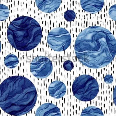 Adesivo Modello senza cuciture disegnato a mano dei cerchi blu profondi dell'acquerello. Marmo Texture