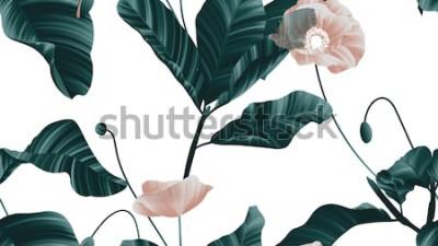 Adesivo Modello senza cuciture, fiori marroni del papavero con le foglie verdi su fondo bianco