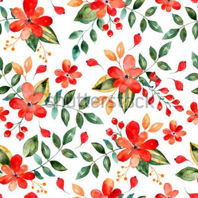 Adesivo Modello senza cuciture floreale dell'acquerello con i fiori e le foglie rossi Illustrazione floreale variopinta L'autunno o la progettazione fatta a mano di estate per l'invito, nozze o ca